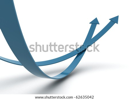 Two blue arrow - competition concept - stock photo