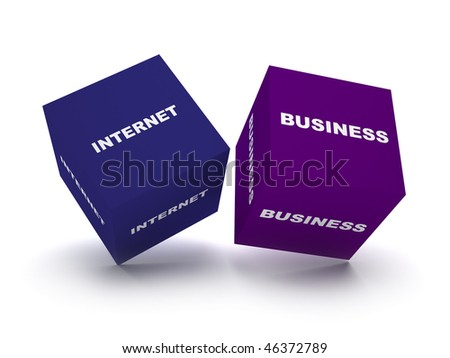 two blue blocks spelling internet business words. concept for internet business