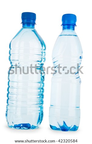 two blue bottle with water isolated on a white background