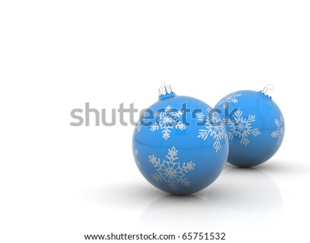 Two blue christmas balls with snowflakes on white background