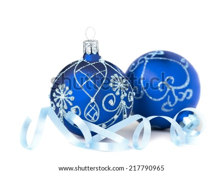 Two blue Christmas Baubles on white background - stock photo