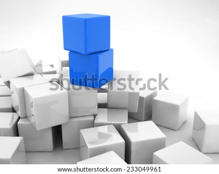 two blue cubes placed observably in a group of white cubes.