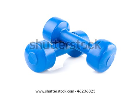 two blue dumbbells with shadow isolated on white