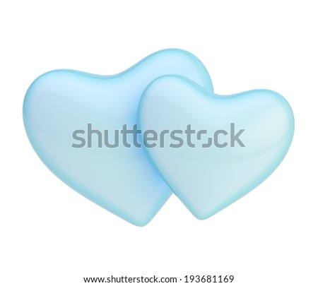 Two blue hearts composition isolated over the white background - stock photo