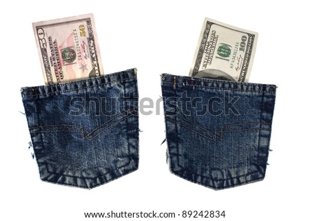Two blue jeans pockets with dollars bill inside isolated on white background.  Included clipping path, so you can easily cut it out and place over the top of a design. - stock photo