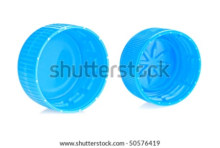two blue lid isolated - stock photo