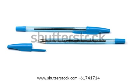 Two blue pens. Isolated on white background - stock photo