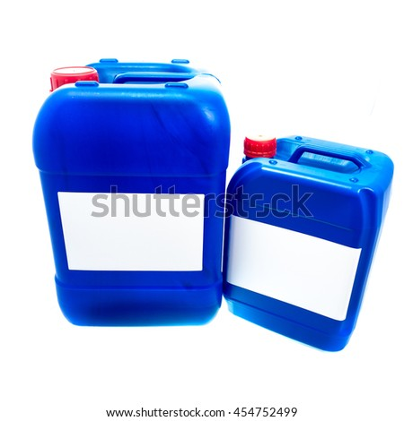 Two blue plastic canisters, containers with label; your text here; isolated on white background  - stock photo
