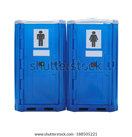 Two blue plastic portable toilet cabins isolated - stock photo