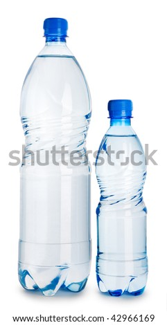 two blue plastical bottle with water isolated on a white background