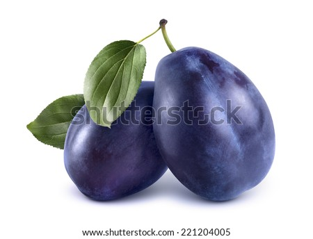 Two blue plums isolated on white background as package design element - stock photo