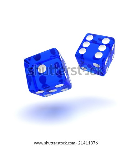 Two blue semi transparent dice showing the number one and six - stock photo