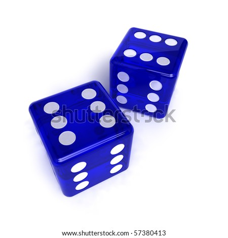 Two blue, semi-transparent dice with the number six on them over white background - stock photo