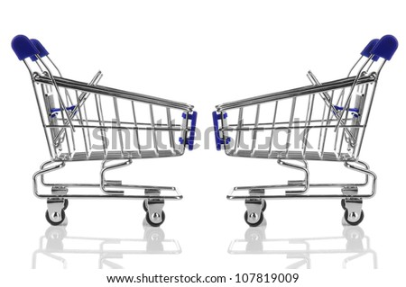 two blue shopping cart with reflection isolated on white background