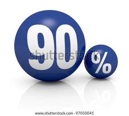 two blue spheres, one with the number 90 and the other with the percent symbol (3d render) - stock photo