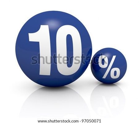 two blue spheres, one with the number 10 and the other with the percent symbol (3d render) - stock photo