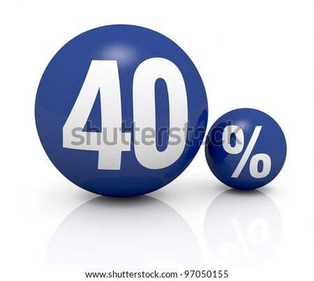 two blue spheres, one with the number 40 and the other with the percent symbol (3d render) - stock photo