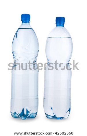 two blue transparent bottle with water isolated on a white background