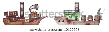 Two boat. On river. Illustration by Eugene Ivanov. - stock photo