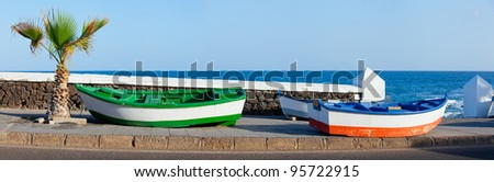 Two boats and palm on the coast. Panorama. Lanzarote, Canary, Spaine - stock photo
