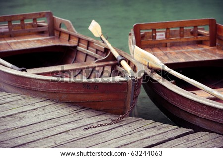 two boats on a beach - stock photo
