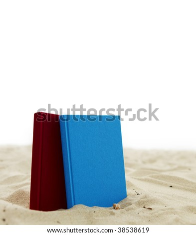 Two books standing in sand isolated on white. - stock photo