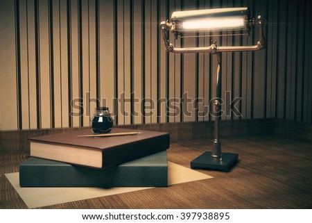 Two books with ink-pot on top and a lamp on wooden table. 3D Rendering