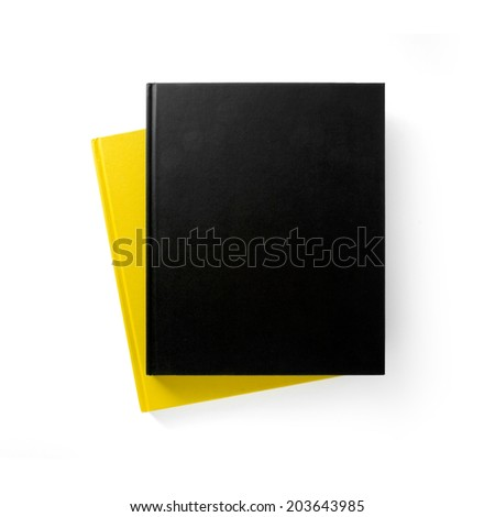 Two books (yellow and black) with blank covers isolated on white  - stock photo