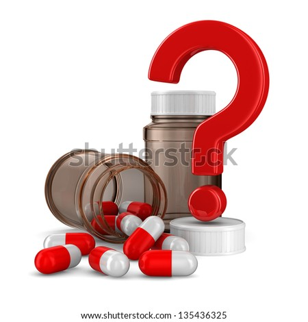 Two bottle for tablets on white background. Isolated 3D image - stock photo