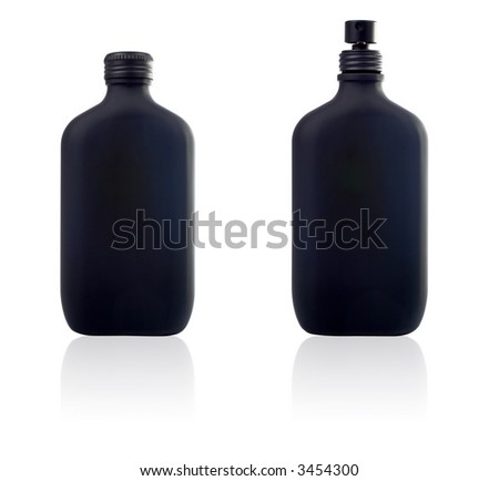 Two bottle of parfum and spray with reflection on white background - stock photo
