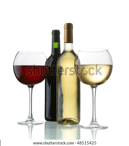two bottle of wine white and red - stock photo