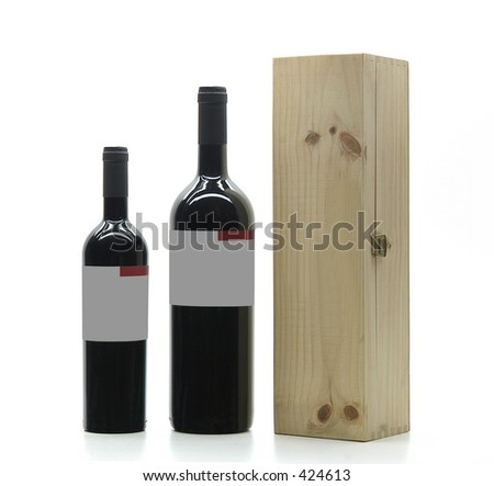 Two bottles and wood box - stock photo