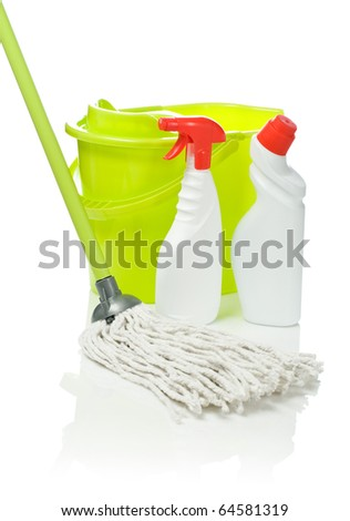 two bottles bucket and mop