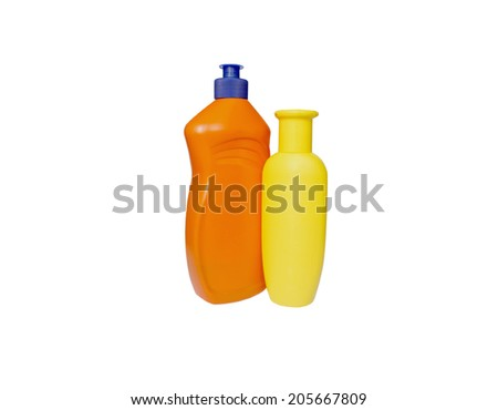 Two bottles for washing-cleaners on white background - stock photo
