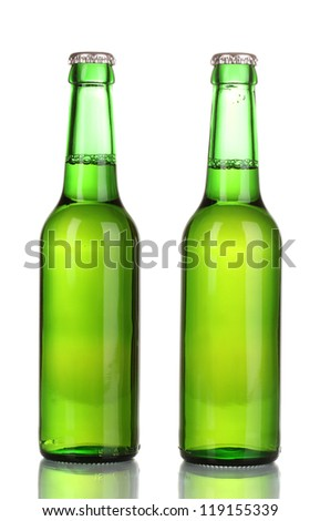 two bottles of beer isolated on white - stock photo