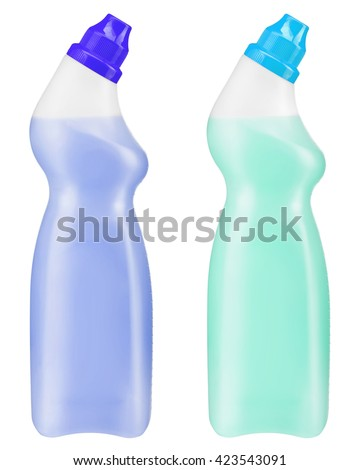 Two bottles of gel to disinfecting toilet. Photo is two transparent plastic bottles with violet and turquoise cleaning liquid isolated on white background - stock photo