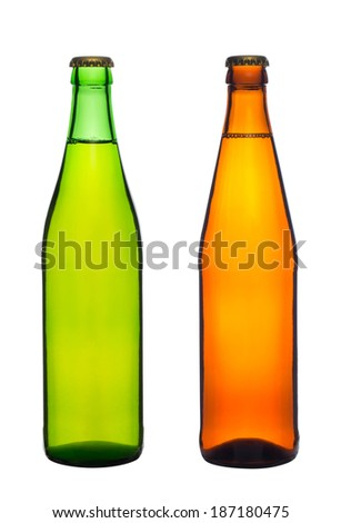 two bottles with beer isolated on white background - stock photo