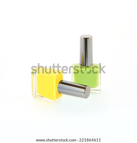 two bottles with nail polish on a white background - stock photo