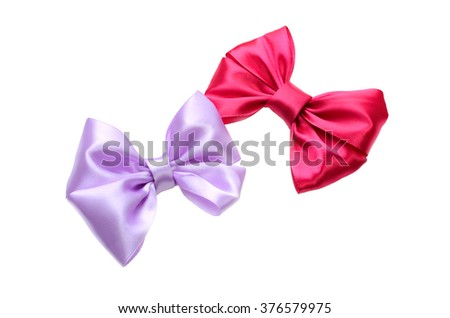 Two bow purple and red on a white background isolated. holiday concept. Birthday. Valentine's Day. Celebration. Gift Decoration. Texture bow. Silhouette of a bow. - stock photo
