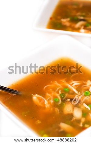 Two bowl of freshly prepared chicken noodle soup - stock photo