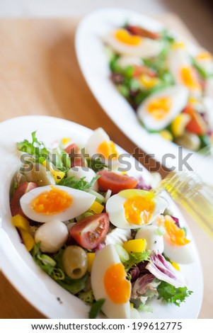 Two bowls of delicious fresh salad with mozzarella, eggs, olives and pepper - stock photo