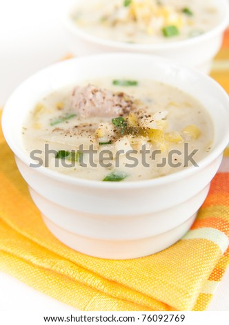Two Bowls of Freshly Made Potato and Leek Soup - stock photo