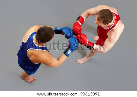 Two boxers greeting each other before the fight - stock photo