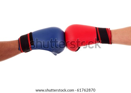 Two boxers touch gloves ready to start fight, isolated on white, studio shot - stock photo