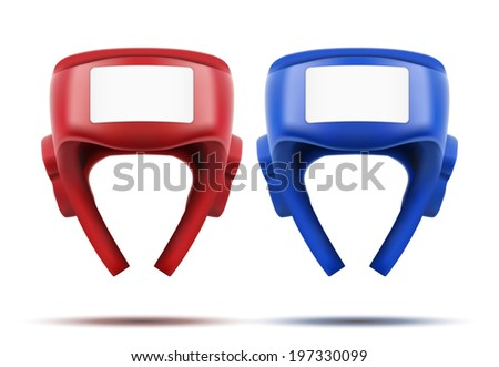 Two Boxing helmets. Sport goods, defense and equipment. Bitmap copy. - stock photo