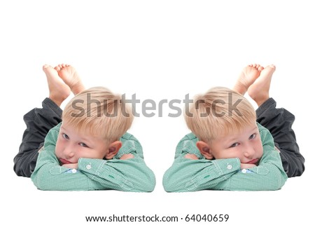 Two Boy Twins (mirrored image) - stock photo