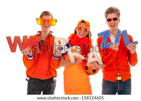 two boys and a girl, the supporters of the dutch soccer team.