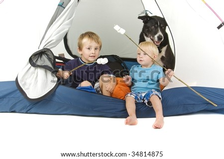 Two boys and dog in tent with marshmallows on sticks - camping or summer holiday theme - stock photo