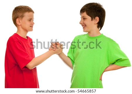 Two boys are greeting one another; isolated on the white background - stock photo