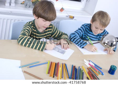 Two boys doing their homework
